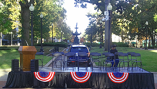Memphis Veteran's Day Parade presentation stage and sound